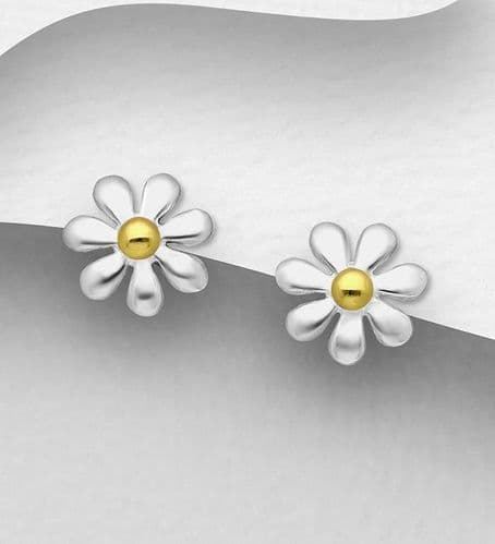 925 Sterling Silver Flower-Stud Earrings, Pollen Plated with 1 Micron of18K Yellow Gold
